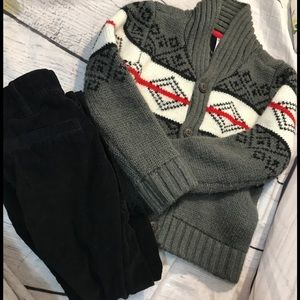 Carter's boy winter cardigan and cords outfit